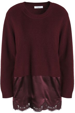 SANDRO Satin-paneled wool-blend sweater