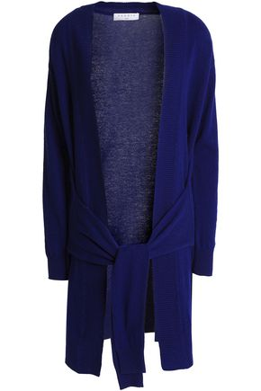 SANDRO Tie-front wool and cashmere-blend cardigan