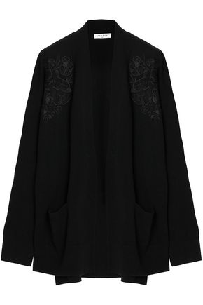 SANDRO Embroidered wool and cashmere-blend cardigan