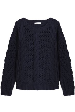 SANDRO Cable and open-knit wool-blend sweater