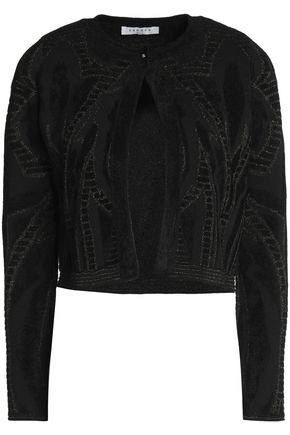 SANDRO Metallic jacquard-knit jacket