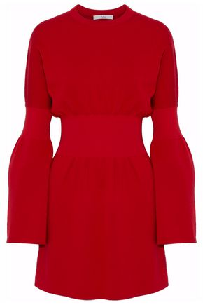 TIBI Gathered merino wool mini dress