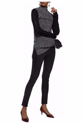ALICE + OLIVIA Marled wool and cashmere-blend turtleneck sweater