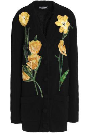 DOLCE & GABBANA Embellished ribbed cashmere cardigan