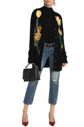 DOLCE & GABBANA Floral-appliquéd ribbed cashmere-blend cardigan