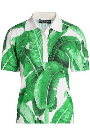 DOLCE & GABBANA Printed silk-piqué polo shirt