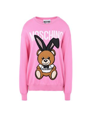 Playboy Toy Bear Intarsia Sweater, Pink