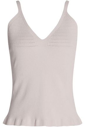 CALVIN KLEIN COLLECTION Ribbed silk-blend top