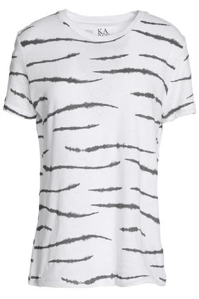 ZOE KARSSEN Animal-print cotton and linen-blend T-shirt