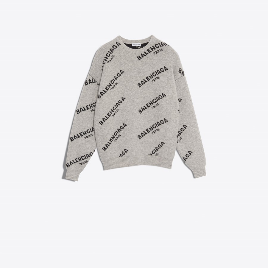 BALENCIAGA Jacquard Logo Crewneck Knitwear Woman f