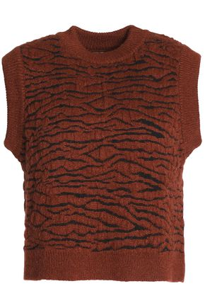 GANNI Richmont brushed jacquard-knit sweater