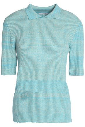GANNI Mélange ribbed-knit top