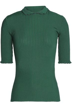 GANNI Ruffle-trimmed ribbed-knit top