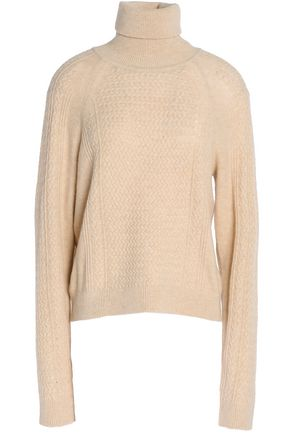 GANNI Cable-knit merino wool-blend turtleneck sweater