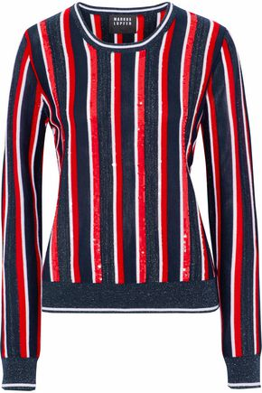 MARKUS LUPFER Grace embellished striped merino wool-blend sweater
