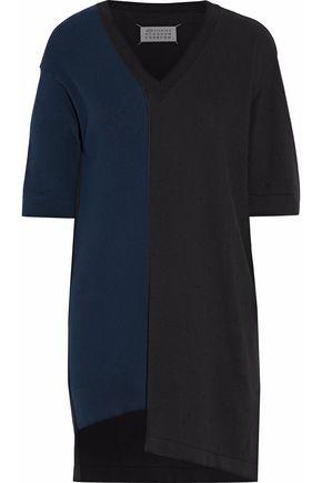MAISON MARGIELA Ribbed knit-paneled two-tone cotton top