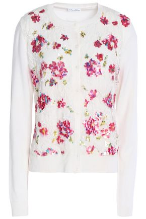 OSCAR DE LA RENTA Embellished lace-paneled wool and silk-blend cardigan