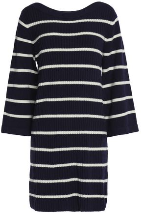 GANNI Ribbed striped merino wool-blend mini dress