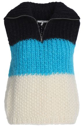 GANNI Color-block mohair and wool-blend sweater