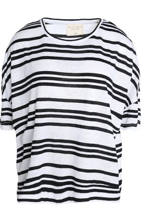 ALICE + OLIVIA Striped slub linen-blend jersey T-shirt
