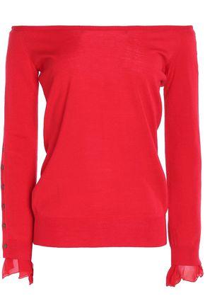 OSCAR DE LA RENTA Off-the-shoulder chiffon-trimmed wool and silk-blend sweater