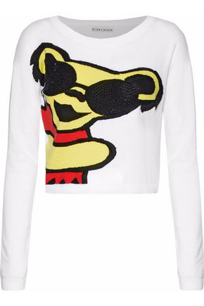 ALICE + OLIVIA Embellished printed cotton-blend sweater