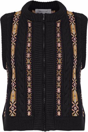 VALENTINO Jacquard-trimmed cable-knit wool and cashmere-blend vest