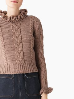 Cable knit High-neck sweater