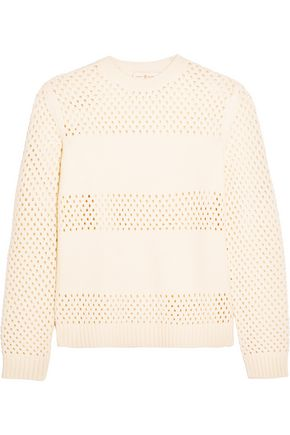 TORY BURCH Leona pointelle-paneled merino wool sweater