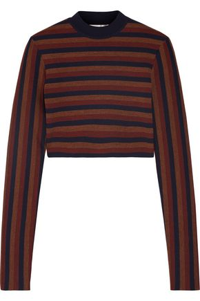 VICTORIA BECKHAM Cropped striped stretch wool-blend sweater