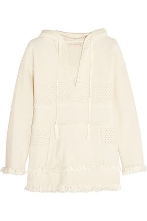 TORY BURCH Baja fringed cotton hooded sweater