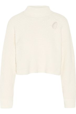 ALEXANDER WANG Cropped cutout cable-knit cotton-blend sweater