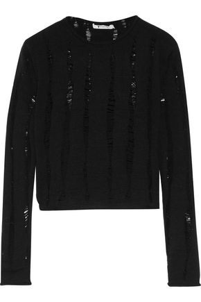 T by ALEXANDER WANG Cropped open knit-trimmed merino wool sweater