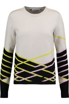 JIL SANDER Jacquard-knit wool and cashmere-blend sweater