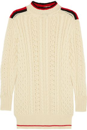 ISABEL MARANT Stripe-trimmed wool-blend sweater