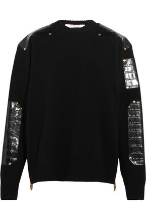 GIVENCHY Croc-effect leather-trimmed wool sweater