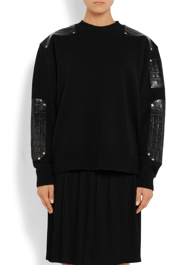 Croc-effect leather-trimmed wool sweater | GIVENCHY | Sale up to 70% off |  THE OUTNET