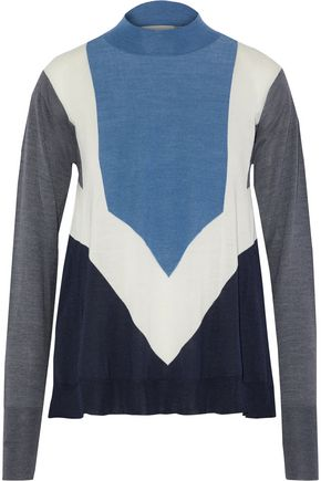STELLA McCARTNEY Color-block wool and silk-blend sweater