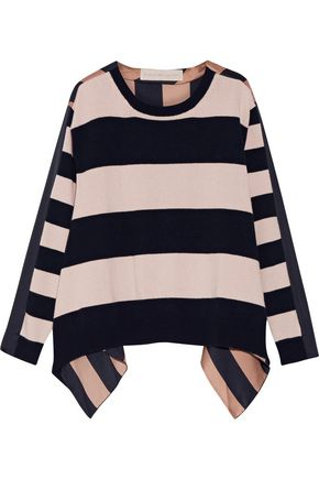 STELLA McCARTNEY Striped cashmere and wool-blend and silk-satin top