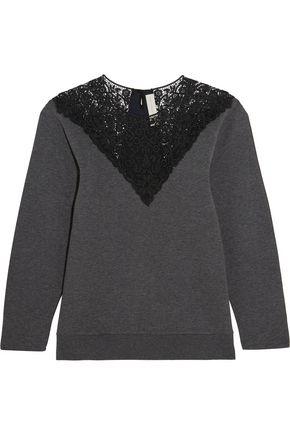 STELLA McCARTNEY Lace-paneled cotton-blend jersey sweatshirt