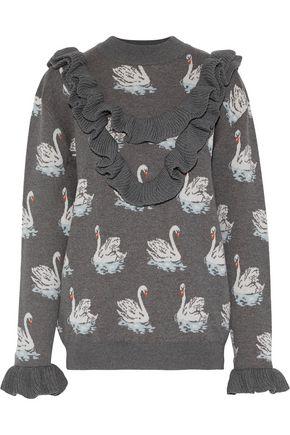 STELLA McCARTNEY Ruffled jacquard-knit wool sweater