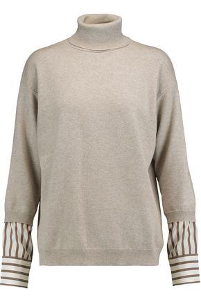 BRUNELLO CUCINELLI Layered cashmere and silk turtleneck sweater