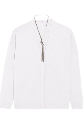 BRUNELLO CUCINELLI Bead-embellished wool-blend cardigan