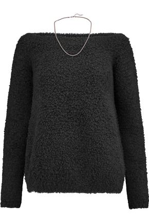 BRUNELLO CUCINELLI Chain-trimmed cashmere-blend bouclé sweater