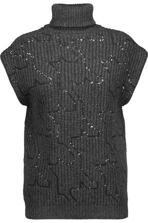 BRUNELLO CUCINELLI Sequined cashmere turtleneck sweater