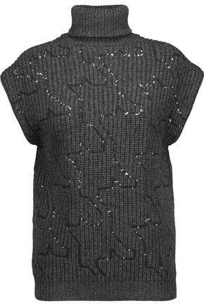 BRUNELLO CUCINELLI Sequined cashmere turtleneck sweater