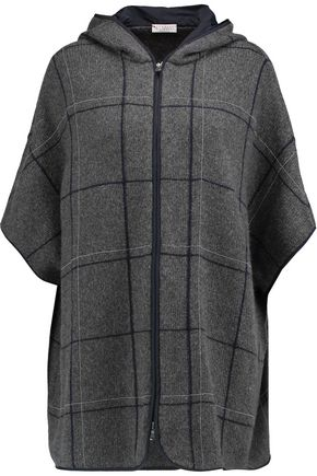 BRUNELLO CUCINELLI Chain-trimmed printed cashmere hooded jacket