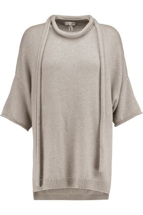 BRUNELLO CUCINELLI Sequinned cashmere and silk-blend sweater