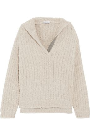 BRUNELLO CUCINELLI Chain-trimmed cashmere-blend bouclé hooded sweater