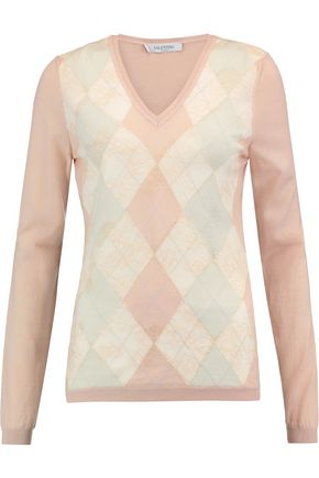 VALENTINO Corded lace-paneled intarsia wool sweater
